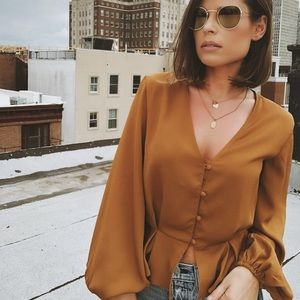 Tops - 🆕Gloria Mustard Button Front Blouse Top